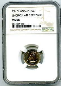 1997 CANADA 10 CENT DIME NGC MS66 UNCIRCULATED SET ISSUE