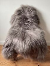 XL Large Genuine Icelandic Sheepskin Sheep Rug Warm Stone Grey Colour NEW