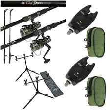 CARP FISHING SET UP 2 X 12FT CARP RODS + 2 X CARP REELS + 2 X BITE ALARMS + POD