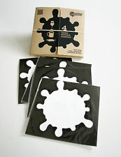 Set of 4 Coasters CONTEMPORARY FUNKY WHITE SPLATS & Storage Box - Gift, Novelty