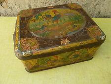 Ancienne boite en fer à décor de campagne coq, pour déco d'ancienne cuisine
