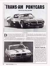 TRANS-AM PONYCARS ~ AWESOME 4-PAGE RACING ARTICLE / AD