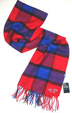 MENS HOLLISTER PLAID RED/ROYAL BLUE SCARF