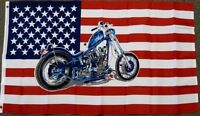 3X5 AMERICAN FLAG WITH A MOTORCYCLE US BIKER BANNER NEW F194