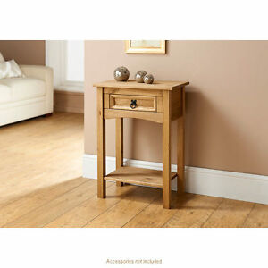 Solid Pine Wood Corona Console Table 1 drawer Side Table