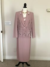 Midnight Velvet Size 8 Dusty Rose Embellished Career Cocktail Church Skirt SUIT