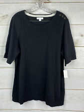 Charter Club Short Sleeve Sweater Womens Plus 2X  Button Shoulder Black NWT