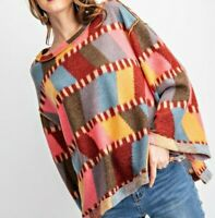New Easel Top S Small Color Block Hacci Knit Bell Sleeve Boho Oversized