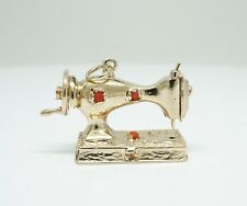 14K Yellow Gold 3-D Vintage Movable Sewing Machine Charm