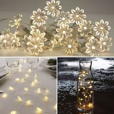 BATTERY Operated FLOWER Lights - 20 LED Indoor FAIRY String Wire Bedroom Wedding