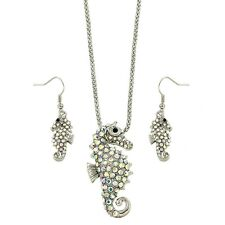 """Seahorse Necklace & Earrings Set - Sparkling Crystal - Fish Hook - 16"""" Chain"""