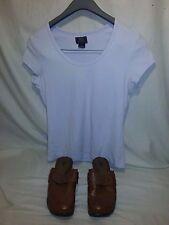 Lot of 2 Women's Bass Brown Slip 7 M Shoes & Light Pastel Purple Stretch M Shirt