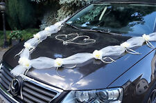 Brautauto Autodeko Autoschmuck Hochzeitsauto Autogirlande Rattanherzen - Creme
