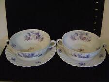 PAIR OF HAVILAND LIMOGES UNIC RUE DE PARADIS STRASBOURG WHITE & BLUE CREAM SOUPS