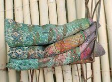 Reversible Blanket, Vintage Kantha Quilt, Handmade Bedspread, Coverlet, Ralli