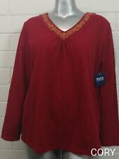 BASIC EDITIONS TOP BLOUSE Size 2X 100% Cotton Gold Embellished V~Neck NWT(ABQ)