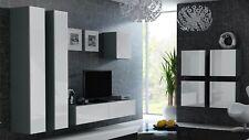 mur de médias Rangement Mural 8 pièces - mymix 3 - Gris/Blanc Haute Brillance