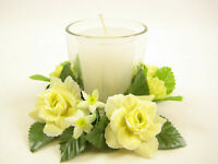 2x Artificial Silk Flowers Rose Rings w/ Candle and Glass Votive Candle Holder