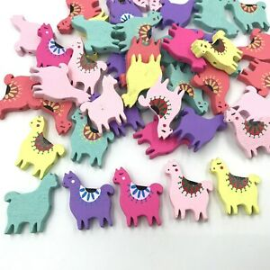 50pcs Cute Alpaca Wooden Beads Baby Clip Spacer Beading Bead Accessories 28mm