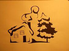 """Schablone """" Haus im Winter."""" auf A4"""