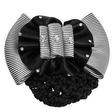Faux Rhinestone Decor Ruched Bow Hair Clip Snood Net Bun Cover White Black SH
