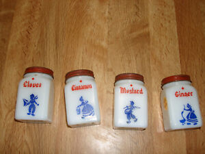 4 Vintage Milk Glass Dutch Spice Jars