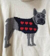 C.Wonder French Bulldog Dog Red Heart Turtleneck Off White Ivory Sweater S