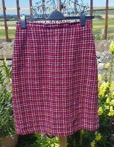 Chic hot pink pure wool tweed check vintage skirt, size uk 16
