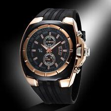 V6 Military Black Silicone Rubber Men's Sport Army Quartz Wrist Watch Xmas Gift