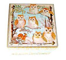 Punch Studio Keepsake Christmas Nesting Square Box Snowy Owls 61076 Small