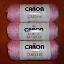 Caron Simply Soft Baby Yarn Lot Of 3 Skeins (Baby Pink #4003) 3.5 oz.