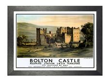 Bolton Castle England Great Britain Redmire Station Yorkshire Vintage Poster