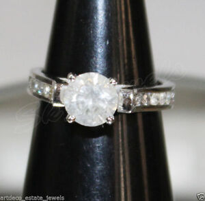 1.91ctw SOLITAIRE ROUND DIAMOND 14K SOLID WHITE GOLD BAND RING IN SIZE 7