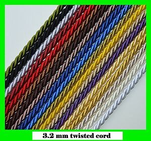 3.2 mm twisted cord rope braid 1, 3, 5,10m for craft jewellery soutache pipping