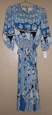 "NWT  ""TRES JOLIE"" BLUE FLORAL DRESS WOMEN'S SIZE MEDIUM  MSRP $248 TIE WAIST"