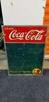 VINTAGE Tin Drink Coca Cola Chalk Board delicious and refreshing Sign  19 x 27