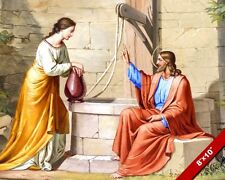 JESUS WITH THE SAMARITAN WOMAN AT THE WELL CANVAS GICLEE 8X10 BIBLE ART PRINT