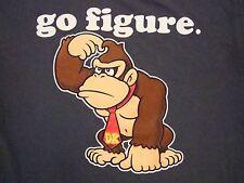 """Donkey Kong DK """"Go Figure"""" Super Mario Bros Nintendo T Shirt L"""