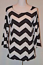 Women's Shirt Chevron Peasant Sleeve Black White Large L Tunic NWT
