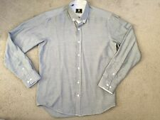STEEL & JELLY GREY/BLUE FLECK SHIRT WITH BUTTON DOWN COLLAR - SIZE M - NEW