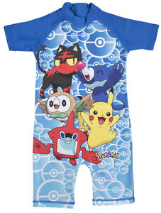 Pokemon Boys Sun Suit Kids Pikachu All In One Swimsuit Beach Pool Holiday Size