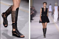 DIESEL BLACK GOLD 'ANDRASTEA' BLACK LEATHER GLADIATOR SANDALS BOOTS EU 40 US 10