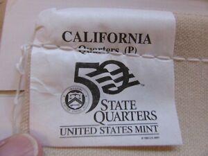 "Unopened $25.00 Mint Bag of California ""2005-P"" State Quarters"