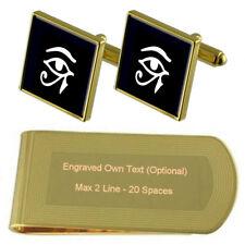 Horus Eye Egyptian God Gold-Tone Cufflinks Money Clip Engraved Gift Set