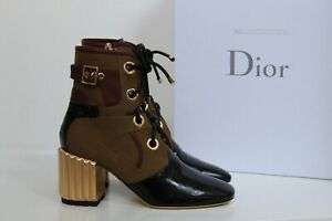 New sz 10.5 / 41 Christian Dior Glorious Brown Lace up Boot w/ Gold Heel Shoes