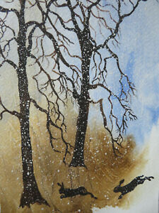 ORIGINAL Watercolour Painting. 'ANIMALS: HARES In Winter'(Xmas Card) By Gina E.