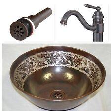 "14"" Copper Vessel Bath Vanity Sink Silver Overlay, Faucet & Drain Combo"