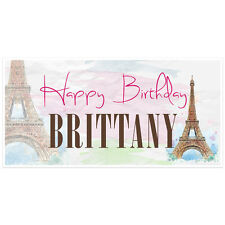 Paris Birthday Banner Personalized Party Backdrop