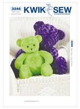 "Kwik Sew Sewing Pattern K3246 Teddy Bears Teddies Soft Toys small 20"" Large 29"""