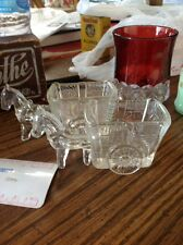 glass candy containers horse drawn wagon nice toy